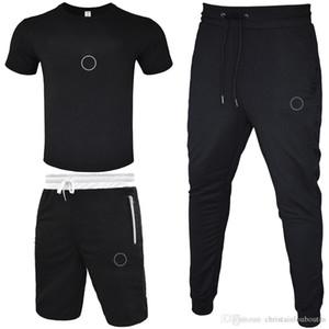 Men Tracksuit 2020 T-shirt+Short Pant+Long Pant 3 Piece Sets Solid Color Outfit Suits High Quality Tracksuits