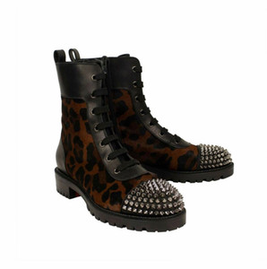 FashionFamous inverno TS CROC Botas Mulheres Red inferior Botas Lady Sapatinho Leopard couro Combat Boots Spikes Red Sole Bottes motocicleta