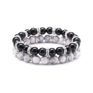 8mm Black Bead howlite Stone Bracelet Micro Paved Crystal Spacer Black White Lover Couple Bracelet Bangel Jewelry