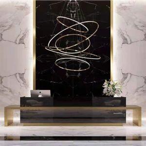 Modern Stainless Steel Chandelier Lighting For Hall Designer Circle Chandelier For Villa Stair Hanging Light Suspension