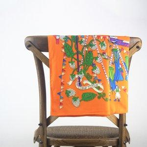 Women Large Square Silk Twill Scarf Euro Foulard Femme Soie De Marque De Luxe Shawl Stole Woman Plant Print Scarves