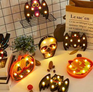 New Halloween Lamp Plastic Pumpkin Bat Ghost Night Light Halloween Lamp for Home Bar Dining Decoration