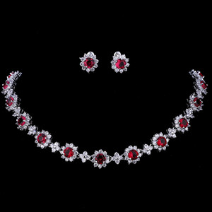 wholesale Luxury Cubic Zircon Crystal Bridal Jewelry Sets Necklace Earrings Sets for Women Wedding Party Jewelry