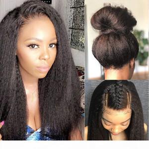 360 Peluca frontal del cordón con cabello bebé 150% de alta calidad Mongolian Kinky Straight Human Hair Lee Front Wigs