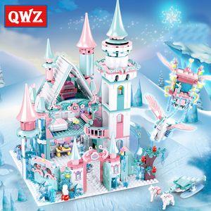 QWZ 1314pcs Snow World Series Magische Eis-Schloss-Set Mädchen Bausteine Ziegel Spielzeug Girl Friend für Weihnachtsgeschenke 1008