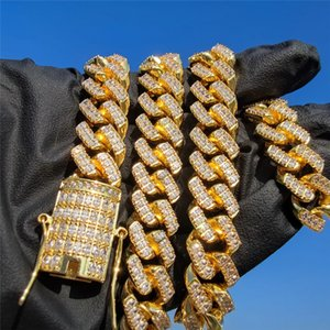12mm 16-26inch Gold Plated Bling Iced Out CZ Diamond Cuban Chain Necklace Bracelets for Men Women Gift