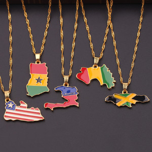 Country Map Flag Necklace Enamel Pendant Africa Guinea Ghana Liberia Undersea Jamaica Hip-hop unisex Necklace Jewelry