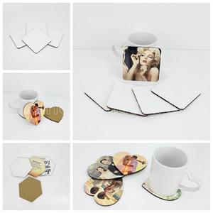 DIY Süblimasyon Boş Coaster Ahşap Mantar Cup Pad MDF Promosyon Aşk Yuvarlak Çiçek Şekilli Kupası Mat Reklam Parti Favor Hediyeler