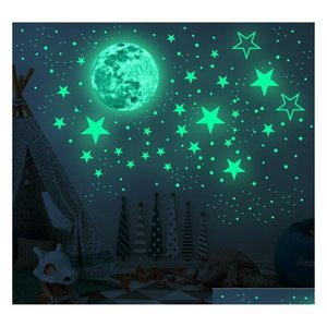 glow in the dark stars wall stickers 435pcs adhesive bright and realistic stars and full moon for starry sky shining decoration for hP0Uq