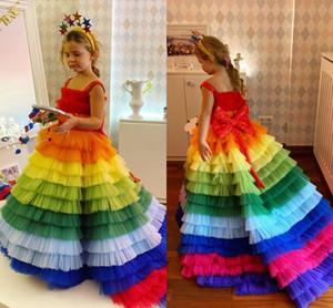 Arco-íris colorido 2021 Pageant Girl vestidos de festa de aniversário Cansado Flor Tules Vestidos Primeira Comunhão vestido de paetês Bow AL7535 de Little Girl
