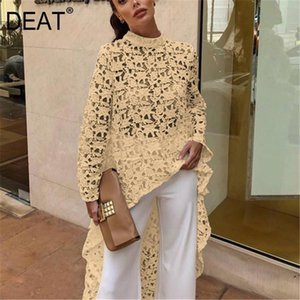 DEAT 2020 New Summer Fashion Autumn Round Neck Full Sleeves Lace Hollow Out Asymmetrical Pullover Female Clothes BF21108XL