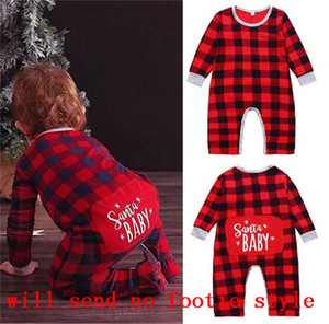 Christmas Newborn Infants Romper Baby Boy Girls SANTA BABY Jumpsuit 6-24 Monthes Buffalo Plaid Pants Playsuit Clothes Xmas Pajamas LY11021
