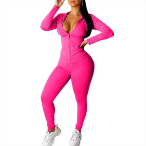 CYSINCOS New Autumn Winter Women Zipper Up Long Sleeve Top Hooded Pants Suit Two Piece Set Casual Sporting Tracksuit Outfit