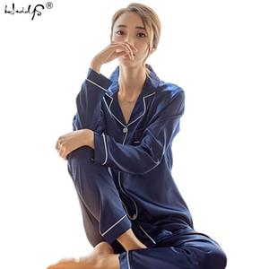 إمرأة الحرير الحرير منامة طويلة الأكمام النوم بيما البيجامة البدلة الإناث النوم قطعتين مجموعة ساحة زائد حجم 201109