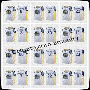 Männer GoldeneZustandKrieger30 Curry Thompson 23 weiße Basketball-Trikots Stephen Klay Draymond Green Verein Jersey 07