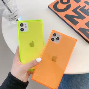 Square Clear Phone Case For iPhone 11 8 7 7plus X Bling Metal Clear Crystal Cover Back for iPhone 12 pro Max XR
