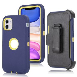 For iphone 11 xr xs max 6 7 8 plus 3 in 1 Rugged Hybrid Shock Absorbing Protective Belt Clip Case Cover