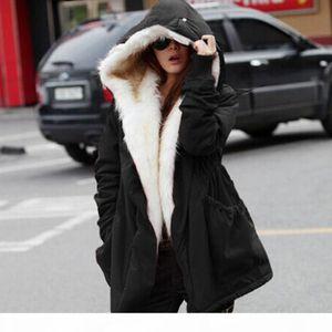 Women Winter Warm Coat Thick Fleece Faux Fur Coat Parka Hooded Outwear Casaco Feminino