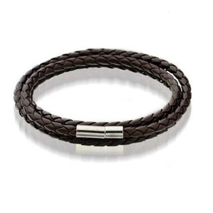 Magnetic Best Mens Leather Bangle Bracelets Black Brown Mesh Stainless Steel Clasp Double Wrap Wristband Beautiful Titan