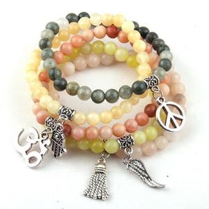 Beautiful Fashion 6 millimetri di pietra di colore della miscela di trasporto libero perline braccialetti di fascino 10pc / lot