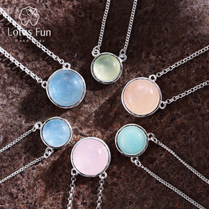 Lotus Fun Real 925 Sterling Silver Designer Fine Jewelry Color Natural Color Color Gemstones Classic Round Colgante Collar para Mujeres 201123