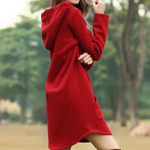 Jocoo Jolee Women Spring Solid Hoodies Casual Long Style Sweatshirt Casual Pocket Oversized Hoodie kpop Hoody Dress Pullover 201020
