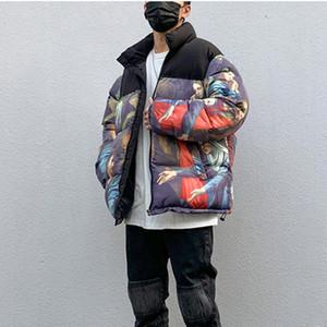 Siyah Renk Yağlıboya Kış Coat Erkekler ve Kadınlar High Street Renk Bloğu Casual Pamuk yastıklı Ceket Gevşek Parkas Standı