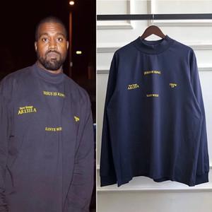 Rollkragen Langarm-T-Shirt Männer und Frauen lose beiläufige T-Shirt Hip Hop Harajuku Street Männer-T-Shirts Art und Weise S-XL