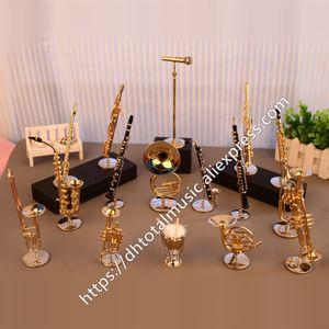 DH Miniature Flute Clarinet Saxophone Trumpet Trombone Французская модель Mini Musian Instrument Украшения Подарок и Украшение Y200104