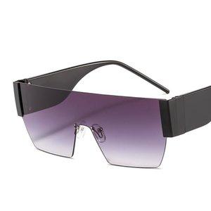 2020 Women Glasses Conjoined Shades Retro Sunglasses Oversized Rimless Piece Eyewear Vintage Evski