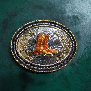 1 Pcs Golden Boots Cowboys Belt Buckle Woman Man Jeans Jewelry Accessories Metal Belt Head Fit 4cm Wide Belt