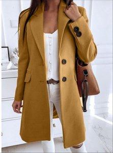 sólido 2020 nuevo color de la solapa de manga larga capa Worsted medianas tubo recto y de estilo largo de las mujeres
