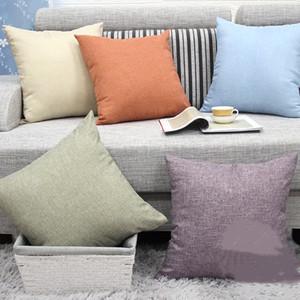 NEW 12style 45 * 45cm imitation linen pillow case solid color pillow case simple home sofa decorative pillow case T500434