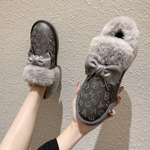 Anti-slip rhinestone snow boots women's short tube fur one 2020 new fashion waterproof thick-soled cotton shoes