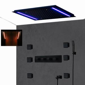 Luxury Matt Black Hotel Shower System 360*500mm Rectangular Big LED Shower Head Set Thermostatic Mixer Faucet Massage Spa Jets Bath