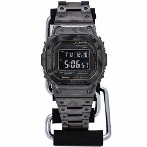 Casual sports men's watch iced out watch LED digital display electronic watch camouflage steel belt folding buckle high quality