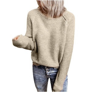 Zipper Sweater Winter Women's Solid Color High Neck Loose Long-Sleeved Side Sweaters sweter damski pull femme donna maglioni