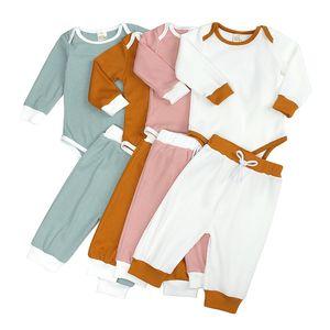 Cotton Kids Pajamas Sets Baby Solid Round Neck Striped Longsleeve Tops+Pants 2pcs Suit Children Sleepwear Korean Style Clothing