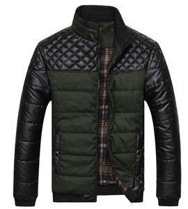 2020 Dropshipping Yeni Kış Bahar Kalın erkek Ceketler ve Mont PU Patchwork Tasarımcısı Moda Erkek Ceketler Pamuk Giyim