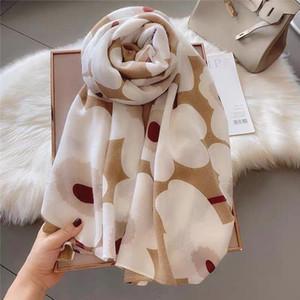 Spring and summer 2020Korean women'sCotton handkerchief warm printing neck protection decorative Scarf Shawl warm and shade