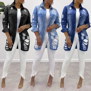 Woman Jacket Coat New Fashion Autumn Denim Jacket Long Jean Coat Holes Showing Thin Outwear Turn-down Collar Full 201017