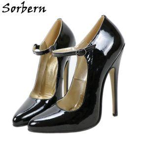 Sorbern 14cm 16cm Mary Janes Chaussure En Cuir Véritable Femmes Pump Mesdames Mesdames pointues Toe High Heel Stilettos Ladyboy Partie Couleur personnalisée