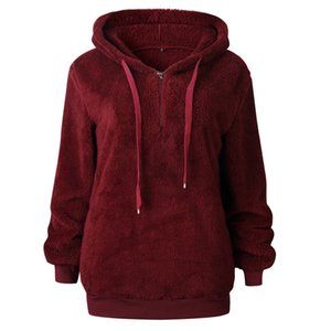Autumn Female Pullover Women Hoodies Solid Loose Drawstring Sweatshirt Long Sleeve red 201007