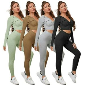 Womens Designer Casual Hooded Tracksuits 2 Piece Set Long Sleeve Zipper Cardigan Hoodie Bodycon Pants Female Sweatshirt Sportswear Suits