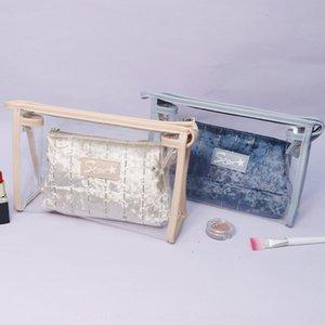 Transparente PVC wasserdicht zweiteilige Wasch Strand Play-Speicher Hip tou ming bao wasserdichte Tasche Herbst Winter Plüsch Tasche f9ok1