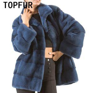TOPFUR reale Pelz-Mantel-Frau Import Dunkelblau Natur Jacke Luxurious Grund Jacke Mode-Winter-Mantel-Qualitäts