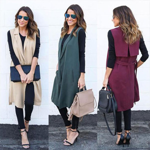 Women Long Vest Sleeveless Cardigan Coat Casual Open Front Solid Feminino Coat Pocket Waistband Blazer Waistcoat Jacket