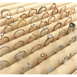 40% Off Rose Gold Ring New Korean Tail Ring Wholesales Quality Silver Wedding Love Cute Flower Pearl Crown Leaf Crystal Rhinestone Band Kdy