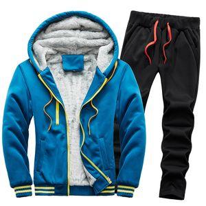 Men Set Fashion Tracksuit Lined Thick Sweatshirt Pants Sportswear Winter Outdoor Set Thicken Fleece Warm Hooded Jacket Pants 1004