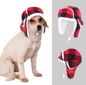 Pet hat autumn and winter beret plus velvet knitted large dog golden hair warm and windproof hood 101031